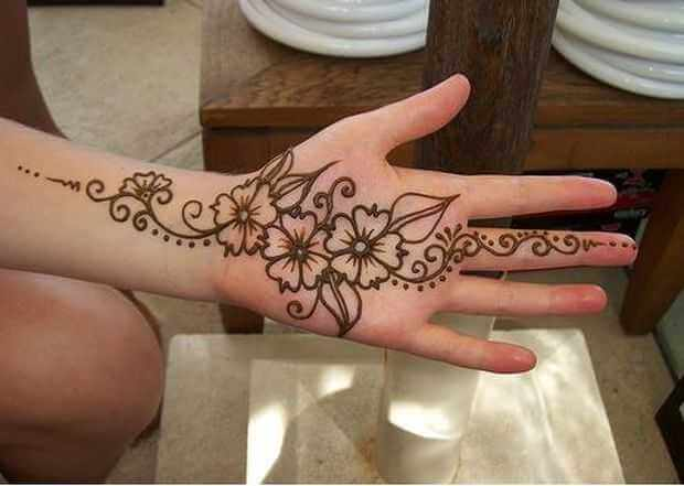 Floral Arabic Simple Mehndi Designs For Left Hand Front Side