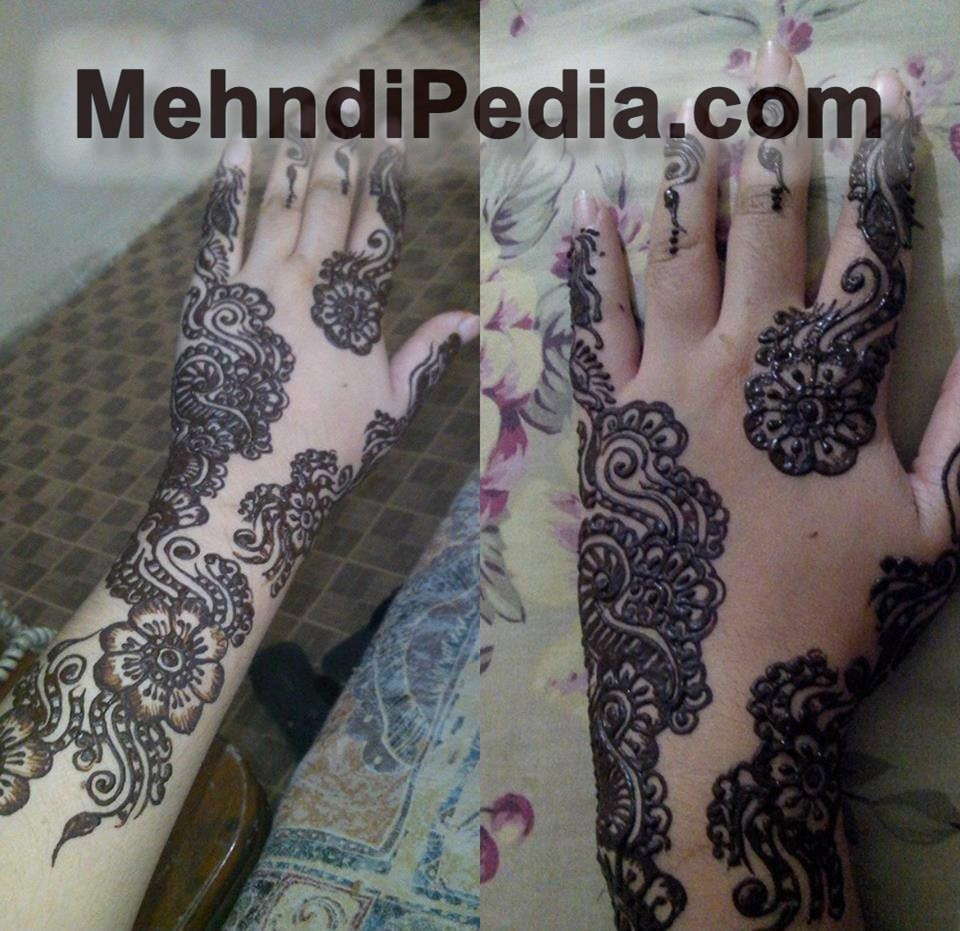 Traditional full palm Mehndi designs wallpapers free for back hand finger to wrist
