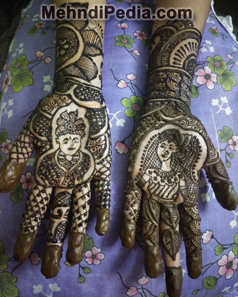 bridal and groom mehndi design on front hand