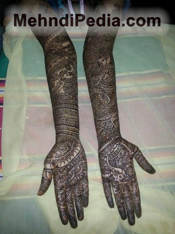 bridal full front hand mehndi design full black hand and arm shade