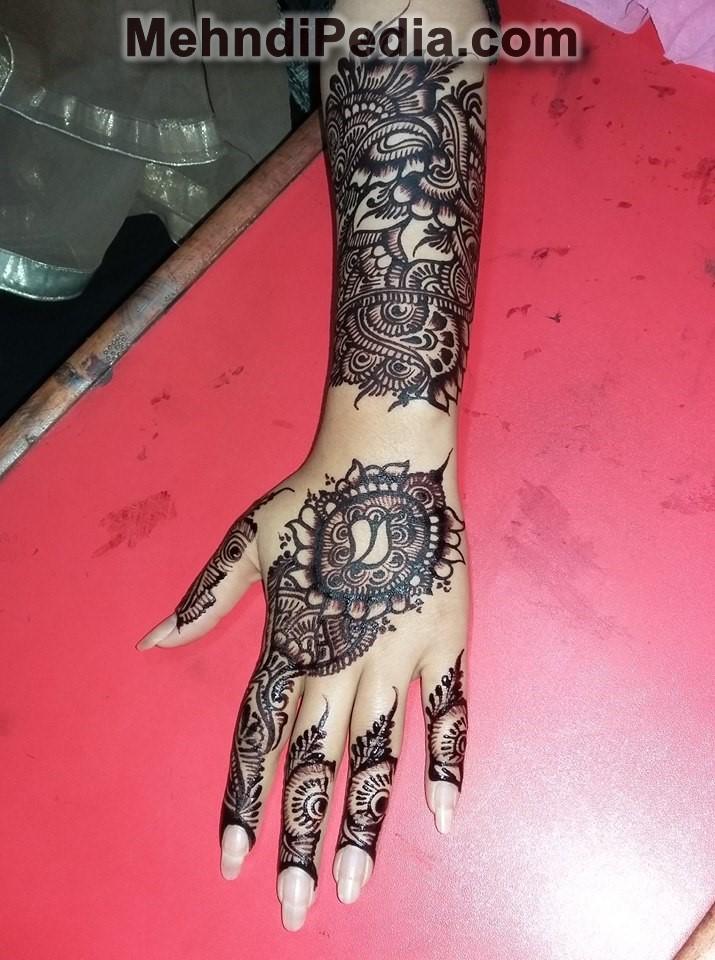 Finger To Wrist Left Hand Mehndi Designs Full Hand Back Side