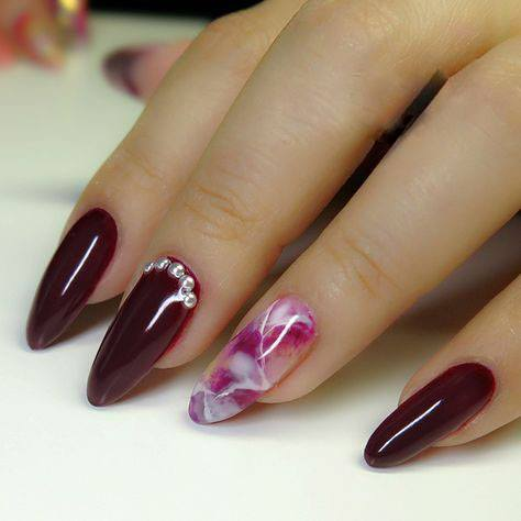 red, Red and Nude Short Nail Design