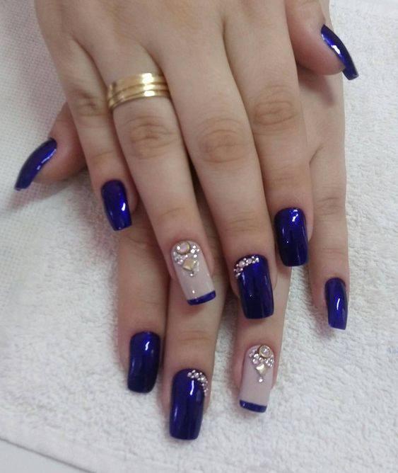 More Than Tips blue nail polish design
