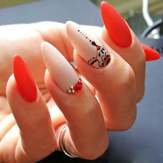Polka Dot Nails red and white