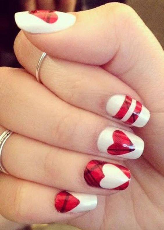 Heart Inception Nail Art red colour