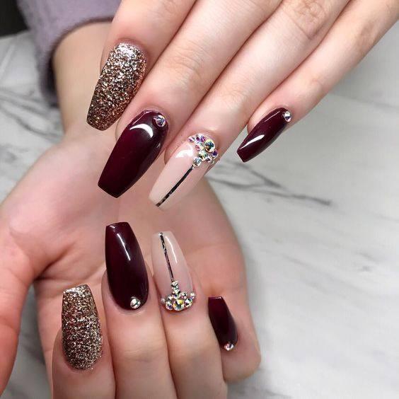 nail designs Christmas black and pink color