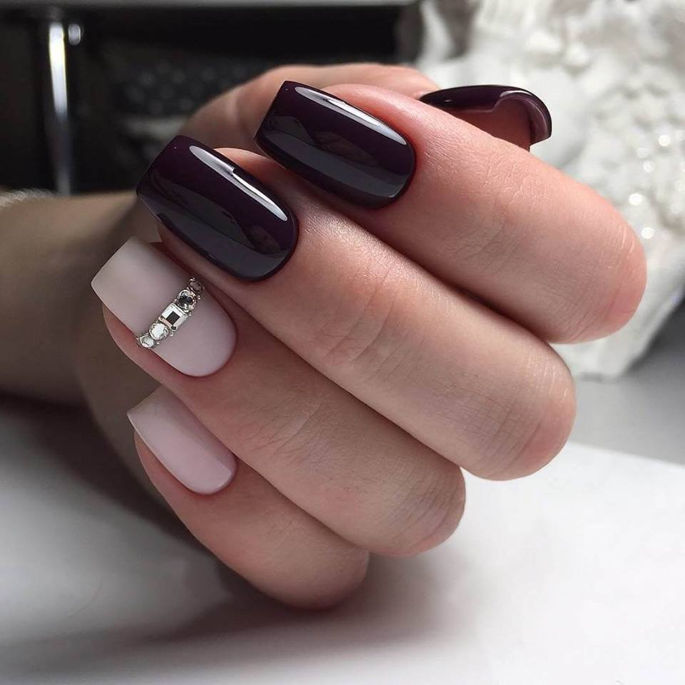 red and pink colour nail designs on one hand